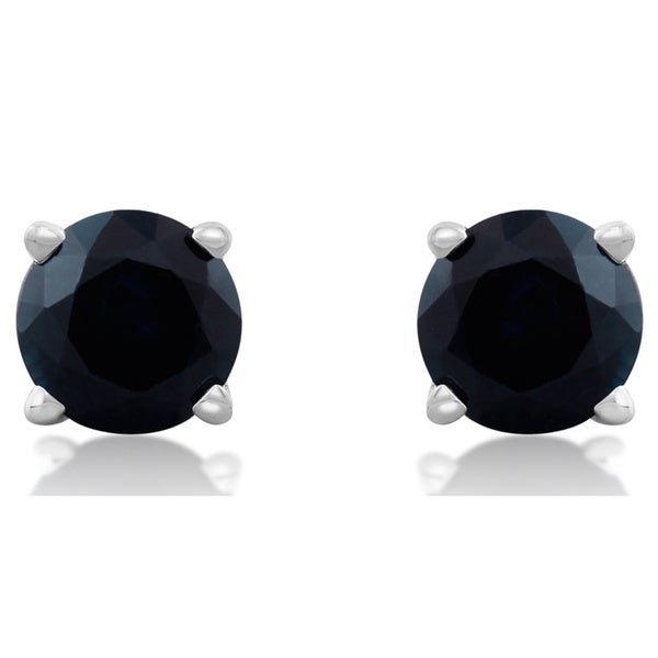14k White Gold Blue Sapphire Stud Earrings