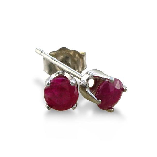 14k White Gold Ruby Stud Earrings, Adult Unisex