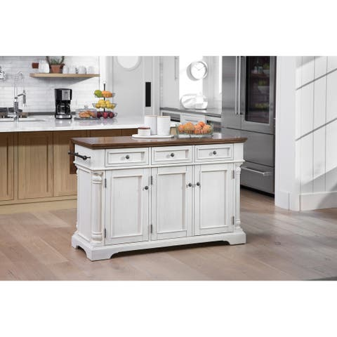 Cocina Kitchen Island with Wood Drop Leaf Top