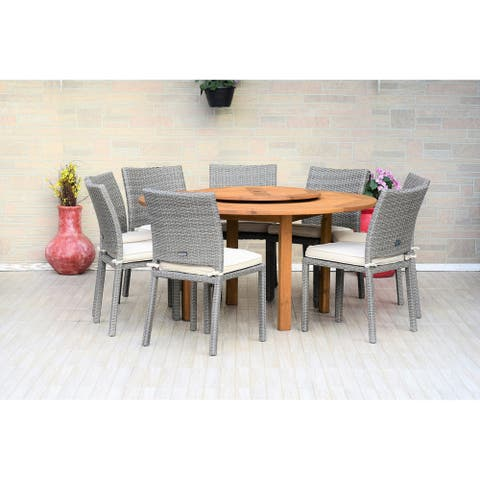 Gonilla 9-piece Lazy Susan Wood Dining Set with Wicker Chairs by Havenside Home