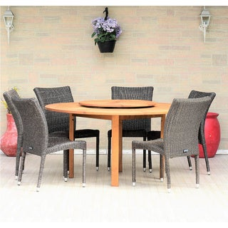 Havenside Home Gonilla 7-piece Wood Lazy Susan Dining Set with Grey Wicker Chairs