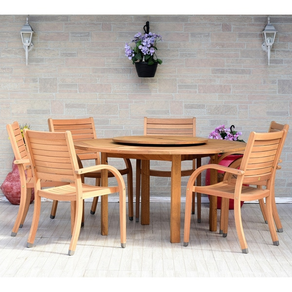 Havenside Home Gonilla 7-piece Teak Finish Patio Dining Set with Lazy Susan