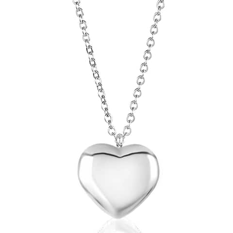 ELYA Stainless Steel Puffed Heart Charm Necklace - 18 Inches