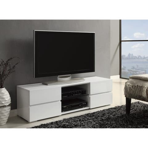 Strick & Bolton Kalie Glossy White 4-drawer TV Console