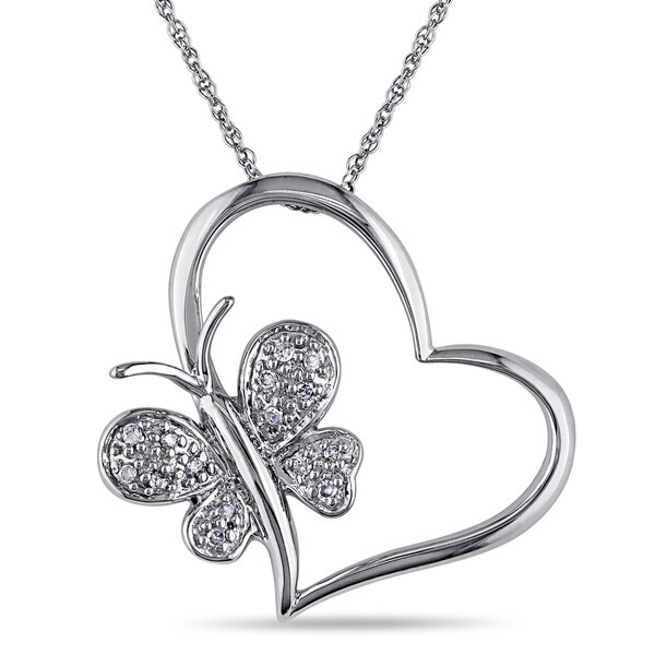 Haylee Jewels 10k Diamond Accent Heart and Butterfly Pendant