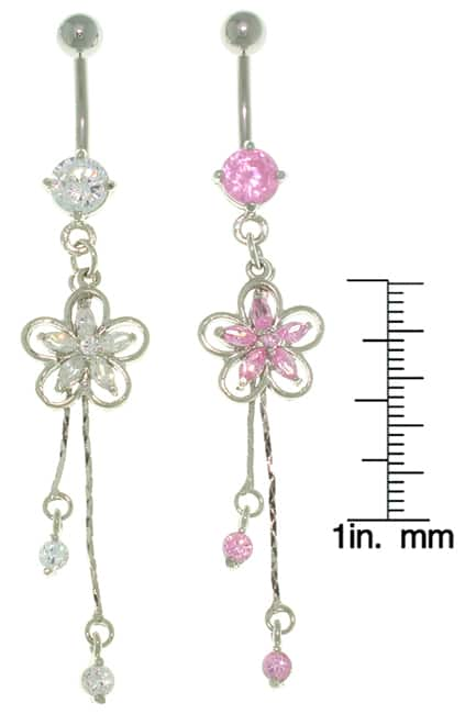 Carolina Glamour Collection Cubic Zirconia Jeweled-flower Stainless Steel Dangle Belly Ring