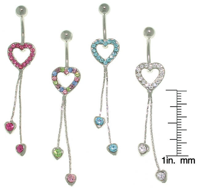 Carolina Glamour Collection Pave Heart 14-gauge Dangle Belly Ring