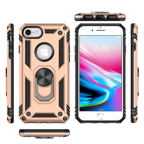 Insten Magnetic Ring Slim Shockproof Hard Dual Layer Plastic TPU Cover Case For Apple iPhone 7/8 - Gold