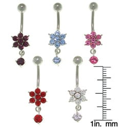 Jewelry Trends Flower with Solitaire Dangle 14-gauge Belly Ring