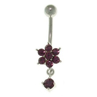 Carolina Glamour Collection Flower with Solitaire Dangle 14-gauge Belly Ring