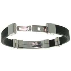 Carolina Glamour Collection Stainless Steel and Rubber Cross Bracelet - Thumbnail 1