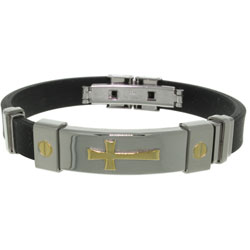 Carolina Glamour Collection Stainless Steel and Rubber Cross Bracelet