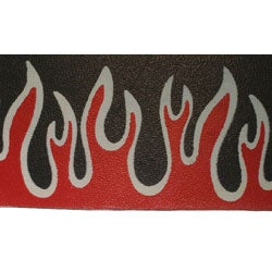 Carolina Glamour Collection Leather Wristband with Red Flames - Thumbnail 1