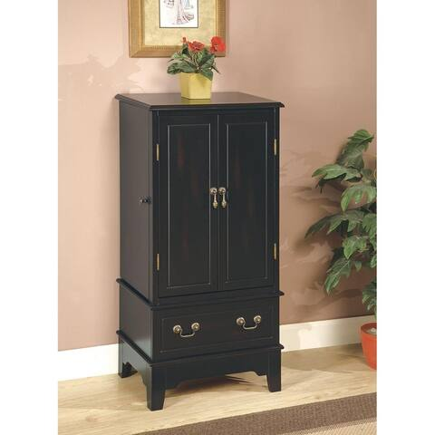 Lydia Burnished Black 2-door Jewelry Armoire