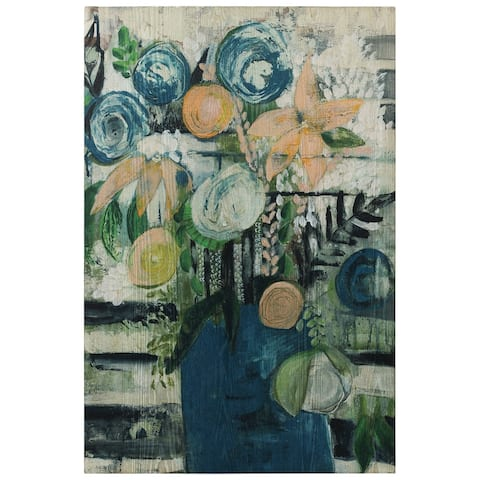 Modern Floral Stripe Wall Art Giclee Printed on Hand Finished Ash Wood
