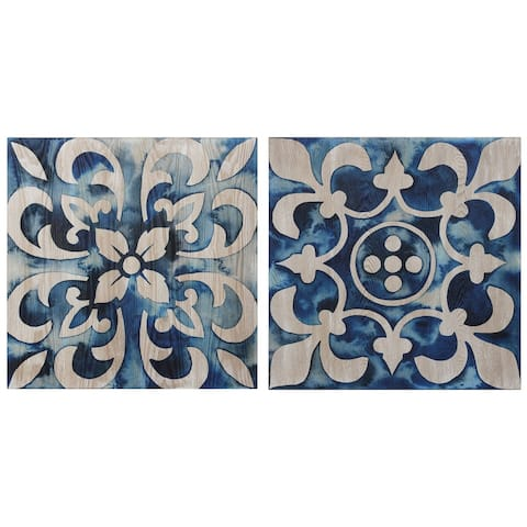 Carson Carrington Cobalt Tile Abstract Diptych Wall Art