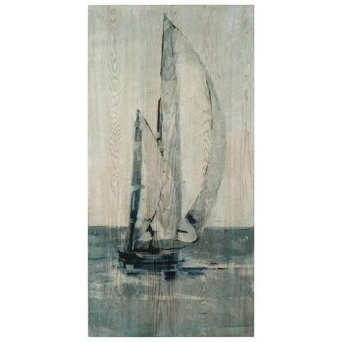 Sea & Sailboat Wall Art Giclee Printed on Hand Finished Ash Wood