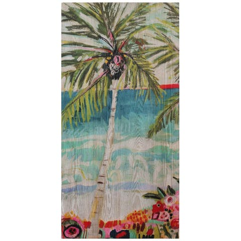 Palm Tree Wall Art Fine Giclee Printed on Hand Finished Ash Wood - Multicolor