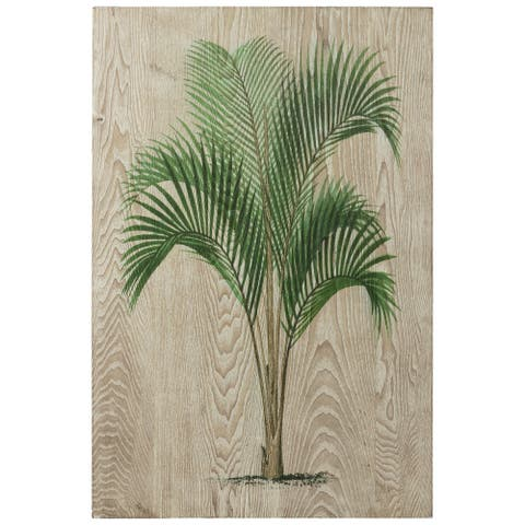 """Coastal Palm I"" Fine Giclee Print on Hand Finished Ash Wood Wall Art"