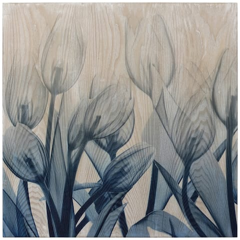 Carson Carrington Blue Tulip Wall Art Giclee Printed Ahwood Wall Art
