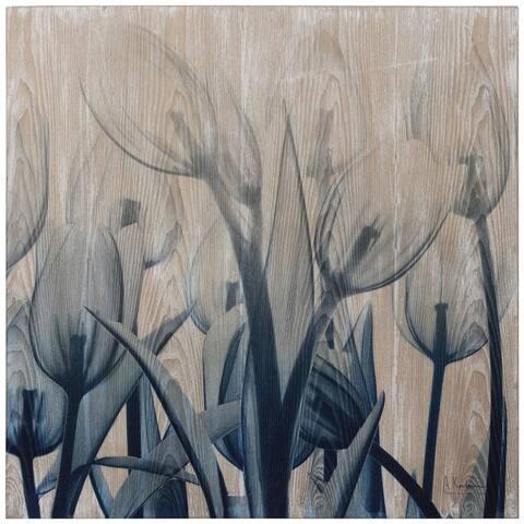 Carson Carrington Hand-finished Ashwood Blue Tulip Wall Art