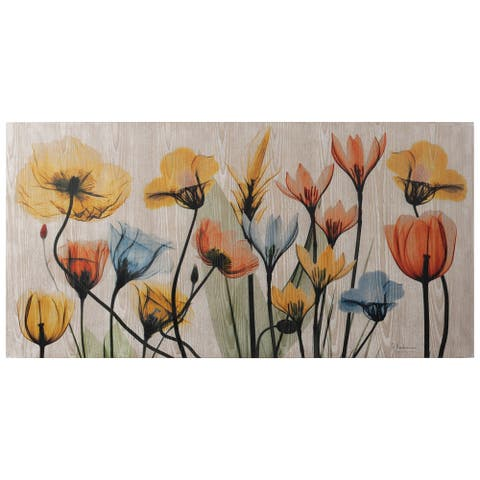 Floral Rainbow Wall Art Giclee Printed on Hand Finished Ash Wood - Multicolor