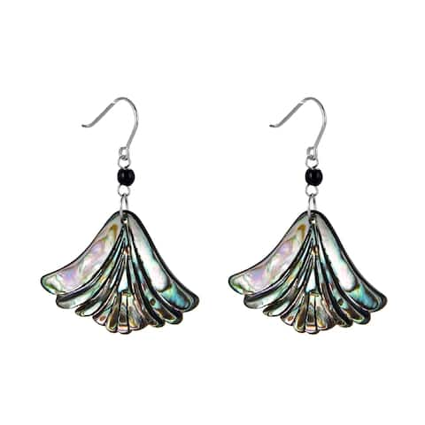 V3 Jewelry 925 Sterling Silver with Abalone Shell and Onyx Drop Earring for Women