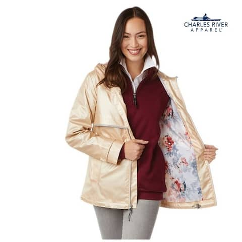 Womens Englander Rain Jacket, Color Champagne