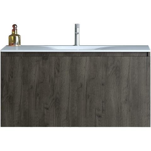 Floating Bathroom Vanity Natural Walnut Brown Finish White Top