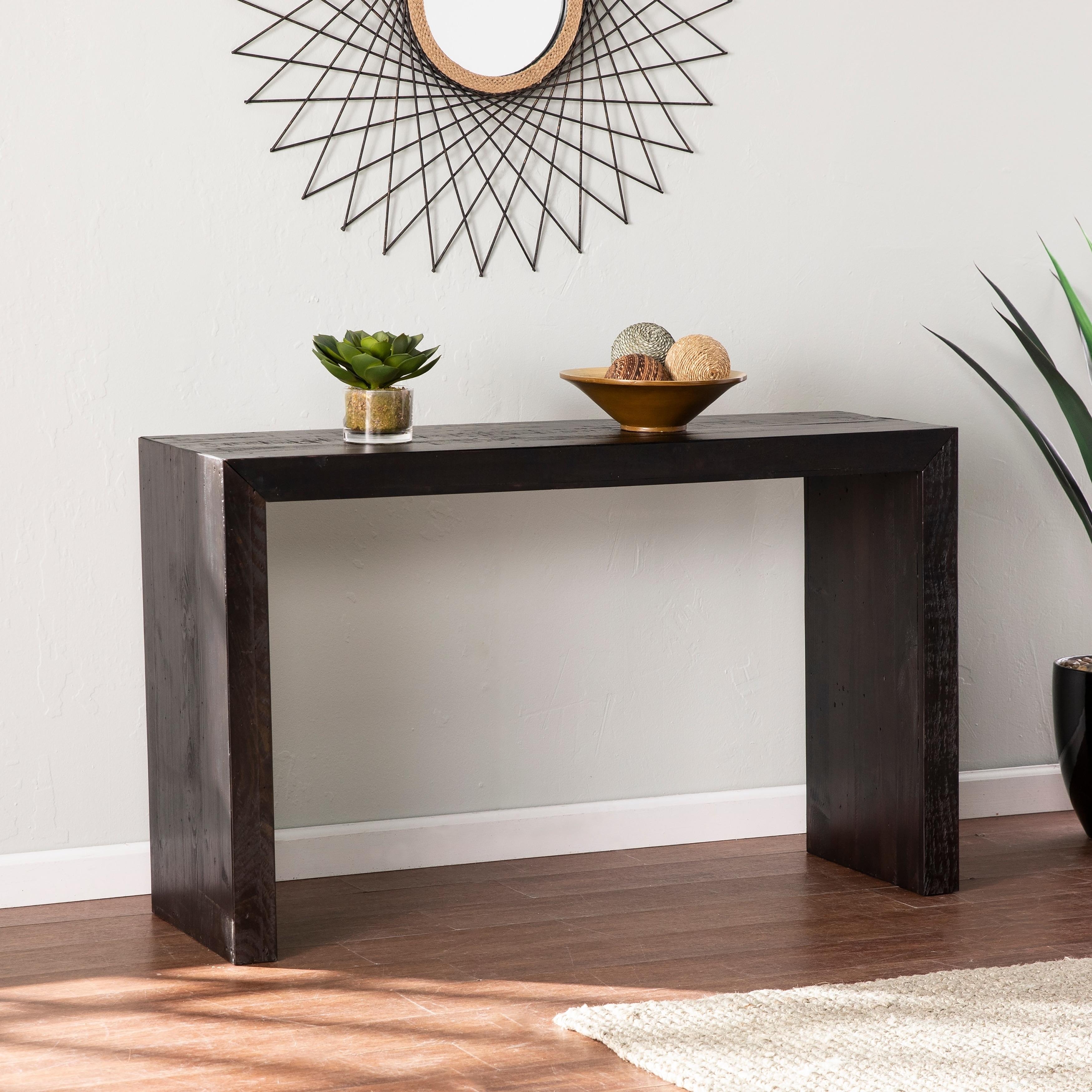 Shop Carson Carrington Blythe Black Reclaimed Wood Console Table Overstock 30733042