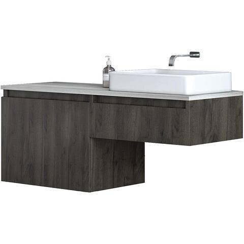 Floating Vanity White Vessel Sink Walnut Brown Base with Oak Grey Top