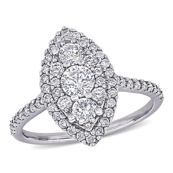Miadora 10k White Gold 1ct TDW Diamond Marquise Composite Halo Vintage Engagement Ring. Opens flyout.