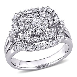 Link to Miadora 14k White Gold 1ct TDW Diamond Composite Halo Engagement Ring Similar Items in Wedding Rings