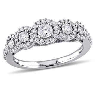 Link to Miadora 10k White Gold 3/4ct TDW Diamond 5-Stone Halo Engagement Ring Similar Items in Wedding Rings