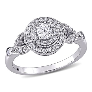 Link to Miadora 14k White Gold 1/2ct TDW Diamond Double Halo Engagement Ring Similar Items in Wedding Rings