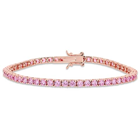 Miadora Rose Plated Sterling Silver Pink Cubic Zirconia Tennis Bracelet