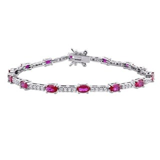 Link to Miadora Sterling Silver Oval Red Cubic Zirconia and Created White Sapphire Tennis Bracelet Similar Items in Necklaces