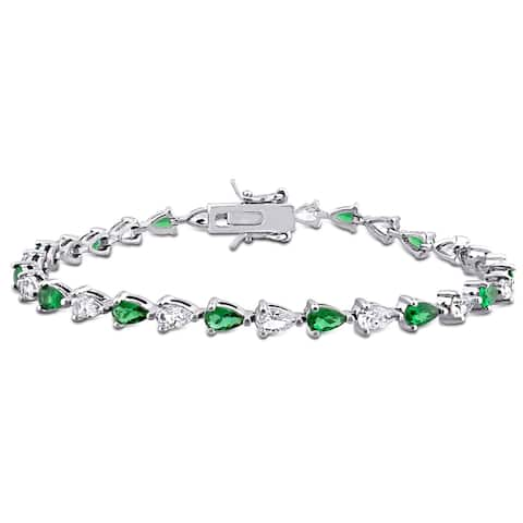 Miadora Sterling Silver 10 1/2 CT TGW Pear-cut Green Cubic Zirconia and Created White Sapphire Tennis Bracelet