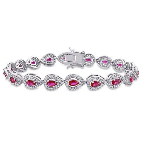 Miadora Sterling Silver 9 1/2 CT TGW Red Cubic Zirconia and Created White Sapphire Pear Tennis Bracelet