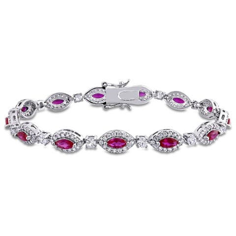 Miadora Sterling Silver Red Cubic Zirconia and Created White Sapphire Halo Tennis Bracelet