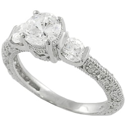 Journee Collection Sterling Silver Three stone CZ Bridal and Engagement Ring
