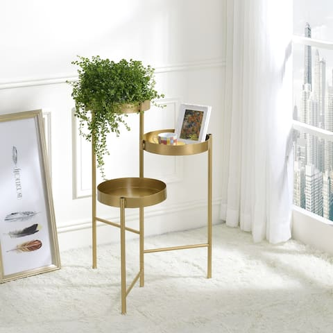 Furniture of America Caleb Modern Gold 3-tier Indoor Plant Stand