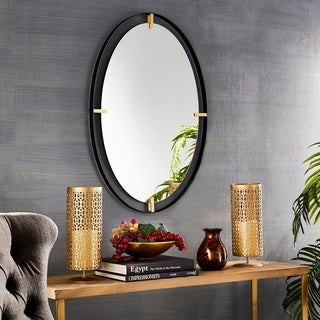 Lodo Black and Gold Oval Wall Mirror by iNSPIRE Q Bold - Large