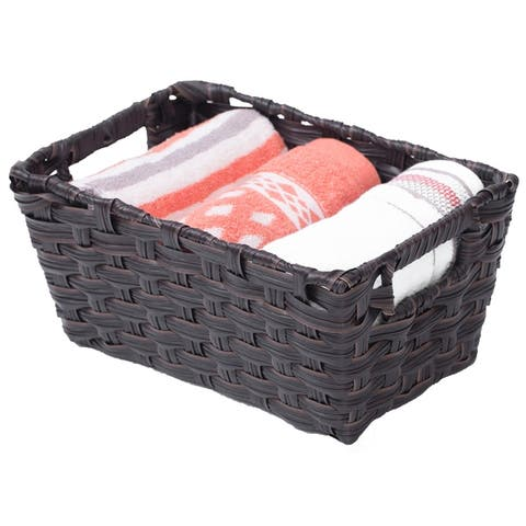 Black Plastic Wicker Shelf Basket Organizer