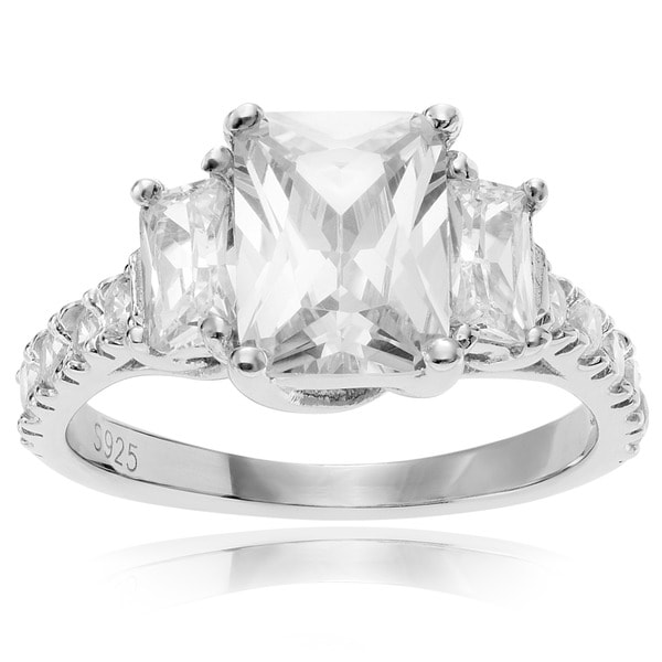 Sterling Silver Three-stone Cubic Zirconia Wedding Ring