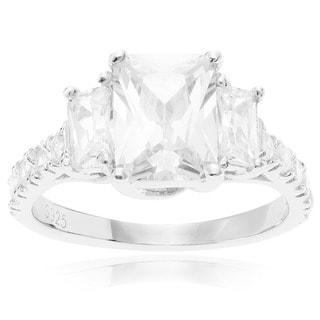 Sterling Silver Three-stone Cubic Zirconia Wedding Ring