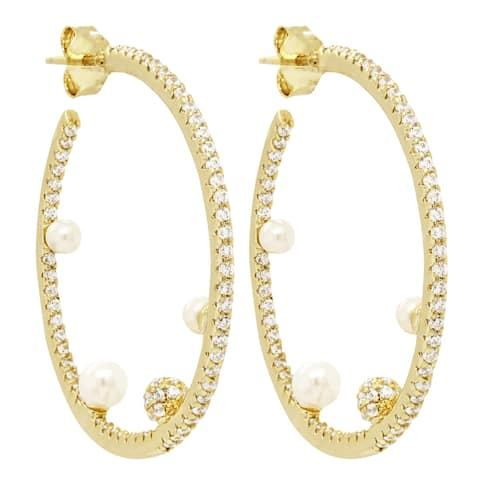 Luxiro Sterling Silver White Shell Pearls with CZ Ball Hoop Earrings