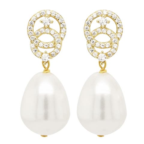 Luxiro Sterling Silver Gold Finish South Sea Baroque Pearl and CZ's Post-clip Earrings