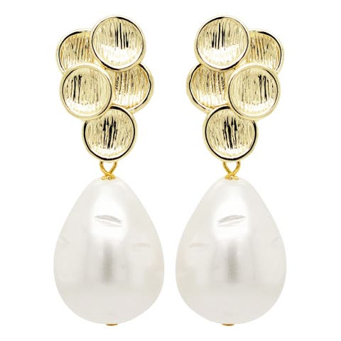 Luxiro Sterling Silver Brushed Gold Finish 14x18mm Baroque Shell Pearl Post Clip Earrings