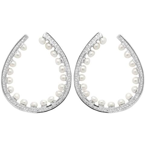 Luxiro Sterling Silver Shell Pearls with Cubic Zirconia Open Teardrop Post Earrings